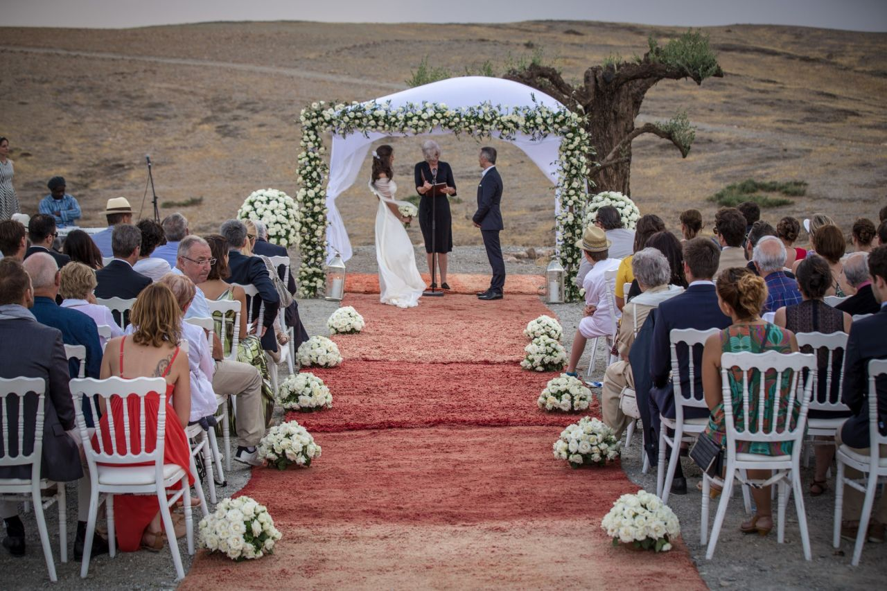 Wedding ceremony in the desert of Marrakech